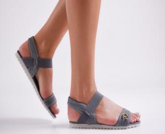 Дамски равни  сандали тъмно сини текстил AJLX-24117