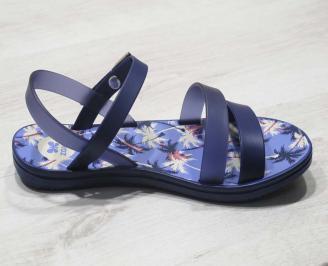 Дамски равни силиконови сандали сини JIOG-24577