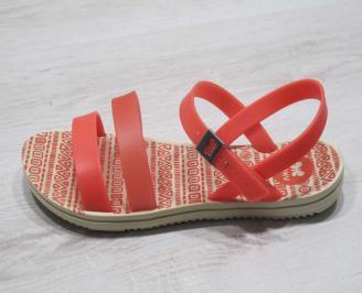 Дамски равни силиконови сандали оранжеви PEGP-24578