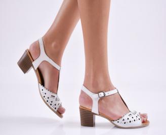 Дамски  сандали бели естествена кожа LHVX-23976