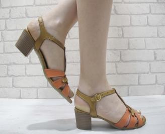 Дамски сандали  бежови естествена кожа CDQS-23979