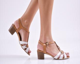 Дамски сандали  бежово/бяло естествена кожа GOYU-24045