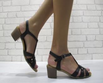 Дамски сандали  черни  естествена кожа VDAD-24085