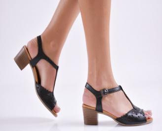 Дамски сандали  черни  естествена кожа ENEW-24133