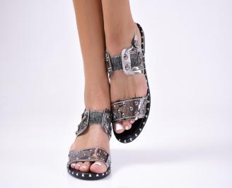 Дамски сандали  еко кожа сребристи RFSI-1012242