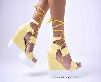 Дамски  сандали еко кожа жълти XLVL-1012599
