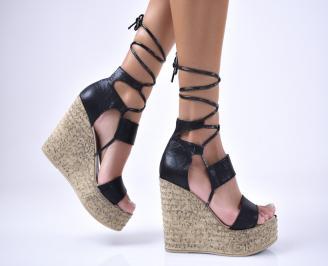 Дамски сандали еко кожа/текстил  черни KPBW-1012612