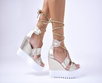 Дамски сандали еко кожа/текстил златисти KZAQ-1012634