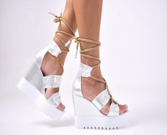 Дамски сандали еко кожа/текстил сребристи PJHK-1012642