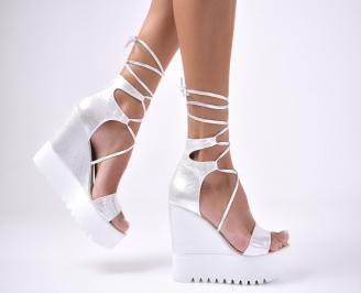 Дамски сандали еко кожа/текстил сребристи MGAH-1012673