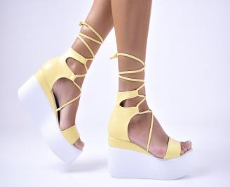 Дамски  сандали еко кожа жълти GKJL-1012675