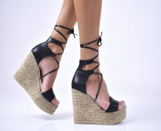 Дамски сандали еко кожа/текстил  черни QYXM-1012681