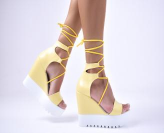 Дамски  сандали еко кожа жълти IXKE-1012684