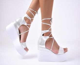 Дамски сандали еко кожа/текстил сребристи JALX-1012687