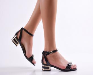 Дамски сандали еко кожа/лак черни UXQJ-23506