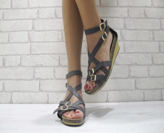 Дамски сандали еко кожа черни IBJD-23877