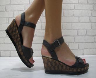 Дамски сандали еко кожа черни HKFD-23881