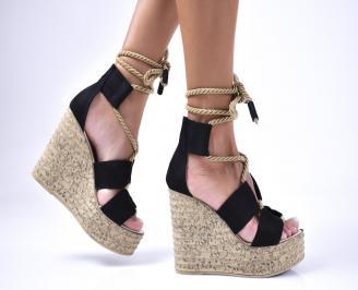 Дамски сандали  еко  набук черни VEYN-1012584