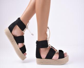 Дамски сандали еко велур черни TTWP-1012117