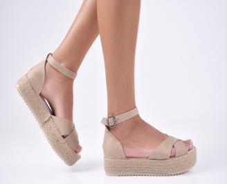 Дамски сандали еко велур бежови WVBB-1012120