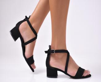 Дамски сандали  еко велур черни AMEV-1012478