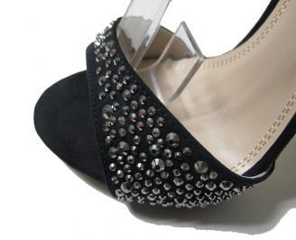 Дамски сандали еко велур черни XBNP-16062