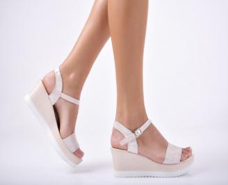 Дамски  сандали естествена  кожа пудра KAJO-1012086