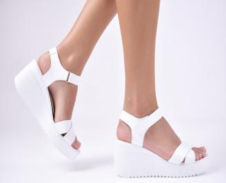 Дамски сандали естествена кожа бели JPSB-1012131