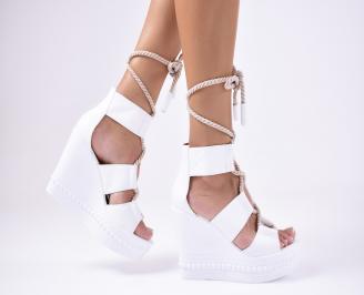 Дамски сандали естествена кожа бели LMUA-1012147