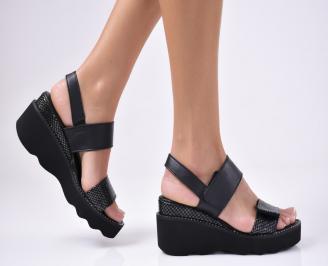 Дамски  сандали естествена кожа черни YLYH-1012154