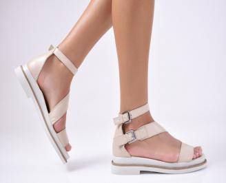Дамски сандали  естествена кожа  бежови BDQL-1012177