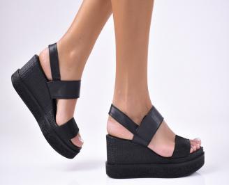 Дамски  сандали естествена кожа черни KPWQ-1012208