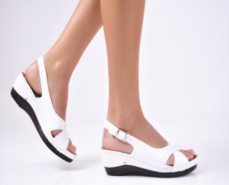 Дамски сандали естествена кожа бели TOGF-1012215