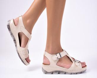 Дамски сандали  естествена кожа  бежови IWHY-1012221