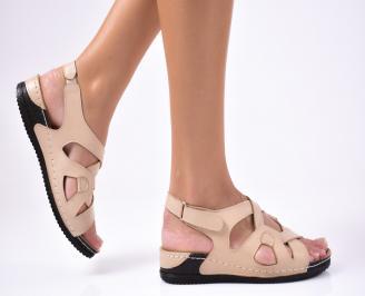 Дамски сандали  естествена кожа  бежови ELFO-1012222