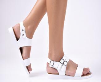 Дамски  сандали естествена кожа бели YMNI-1012229