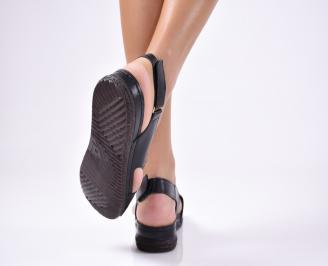Дамски  сандали естествена кожа черни KVUN-1012232