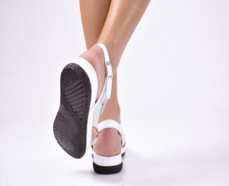 Дамски  сандали естествена кожа бели FJZJ-1012234