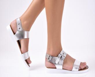 Дамски сандали  естествена кожа сребристи JBUZ-1012238