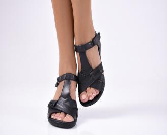Дамски  сандали естествена кожа черни SZYZ-1012239