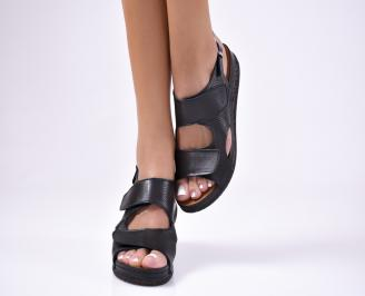 Дамски  сандали естествена кожа черни STWB-1012240