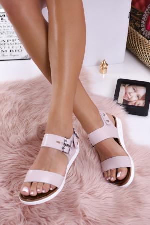 Дамски сандали  естествена кожа пудра XCSO-1012243