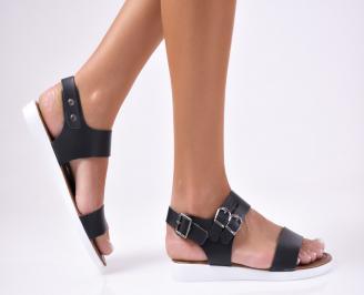 Дамски  сандали естествена кожа черни YHCO-1012450