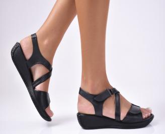 Дамски  сандали естествена кожа черни PMVC-1012458