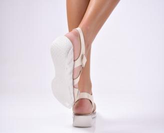 Дамски сандали естествена кожа бежови INSD-1012467