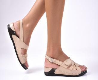 Дамски сандали  естествена кожа  бежови JROV-1012605
