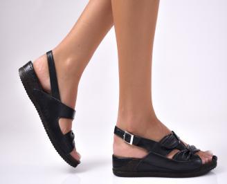 Дамски  сандали естествена кожа черни FXWA-1012625