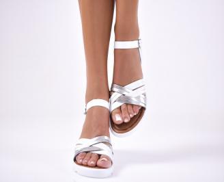 Дамски  сандали естествена кожа бели CXDZ-1012643