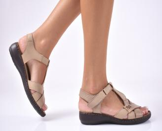 Дамски сандали  естествена кожа  бежови JAVQ-1012647