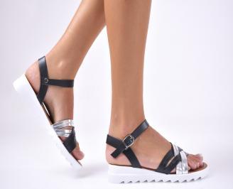 Дамски  сандали естествена кожа черни CHSL-1012652